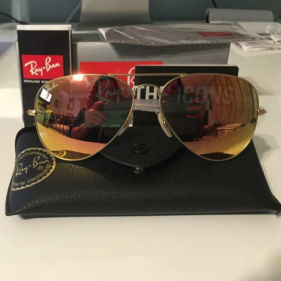0dc9e0cba7 Copper flash ray ban aviator with matte gold frame