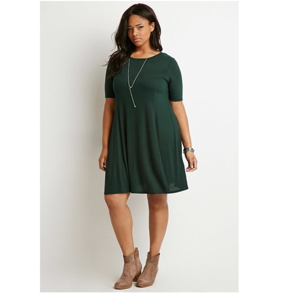 Green Forever 21 Plus Size Ribbed Sweater Dress