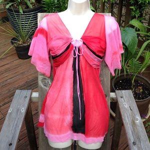 Vivienne Tam Tops - Vivienne Tam sheer pink red nylon blouse top