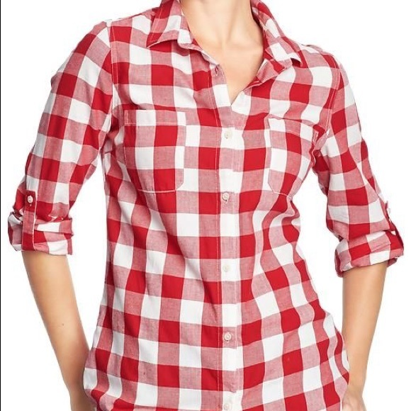 68 off old navy tops old navy women 39 s red check button for Red and white button down shirt
