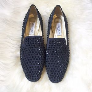 Jimmy Choo Wheel Studded Suede Smoking Slippers 41