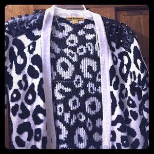 Sweaters - Black and white animal print cardigan