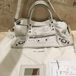 White Balenciaga city bag
