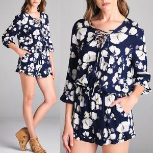 YURI lace up front floral romper - NAVY