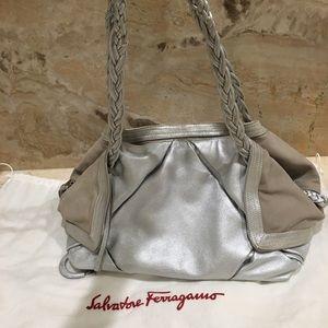 Ferragamo silver hobo purse