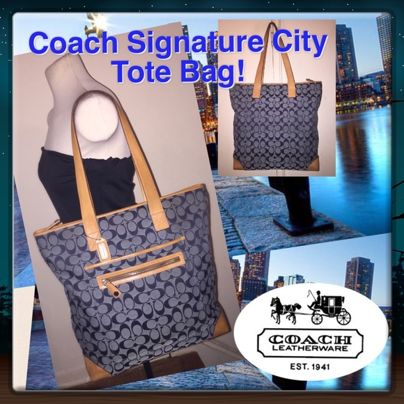 34 56ec2 84eab  coupon for coach blue signature mono zip top city tote bag  6e5b8 2a9c0 353b7f062f32a