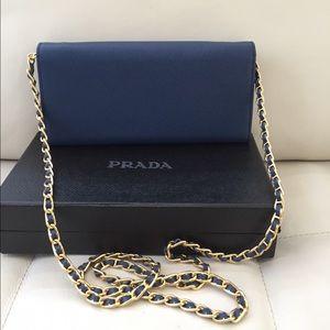 9c3a8b6c184a Prada Bags - Prada saffiano leather wallet on chain Navy blue