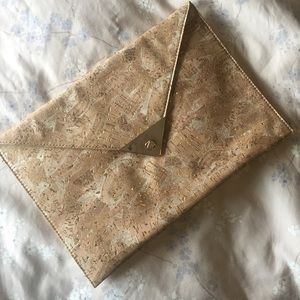 Cork/Gold Justfab Envelope Clutch