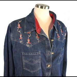 Western Yoke Embroidered Cowboy Boots Denim Shirt