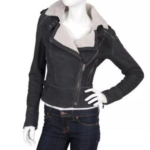 Muubaa Jackets & Blazers - MUUBAA Shearling Jacket Leather Aviator Coat Top