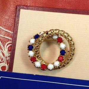 Red White Blue Rhinestone Circle Pin