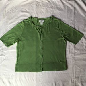 LOFT lightweight short sleeve, crew-neck cardigan