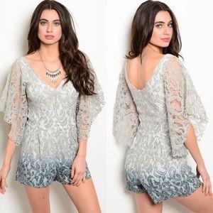 Boutique Pants - 🎉CLEARANCE🎉 Gray Ombré Lace Sleeve Romper