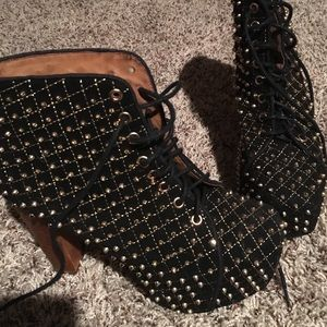 Jeffrey Campbell Shoes - Gold Spiked Litas