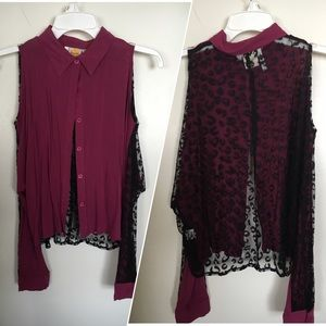 Tops - Magenta and black shirt