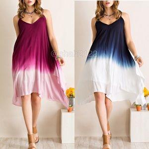 Blue ombré tie dye boho flowy summer hi low dress