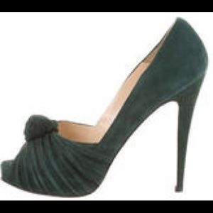51% off Christian Louboutin Shoes - Louboutin green suede knot ...