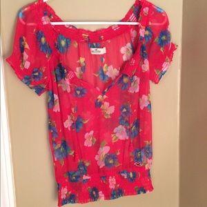 Hollister sheer floral peasant blouse