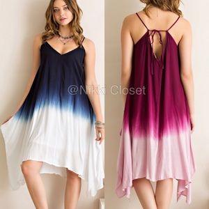 ombré tie dye summer boho dress hi low hem  Blue