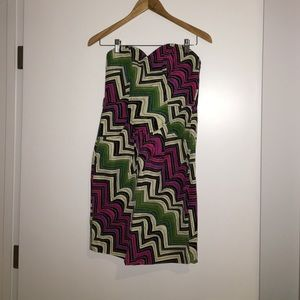Tracy reese strapless chevron print dress