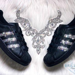 0d0f538e0250b LAST ONE! Swarovski Adidas Superstar Shoes- Black Boutique