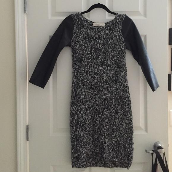 Sweater Sleeves Faux W Poshmark Zara Dress Leather DressesKnit shtrdQ
