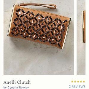 NWT Anthropologie Anelli Clutch,Rhinestone Leather