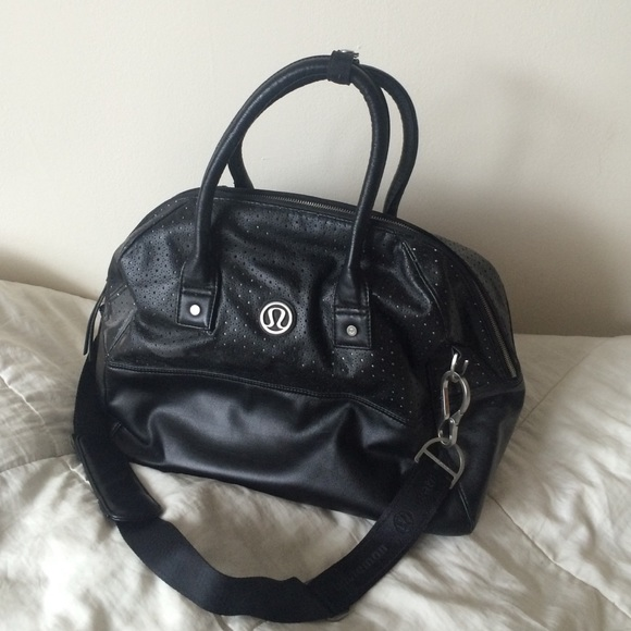 4fd068c6070 lululemon athletica Bags | Lululemon Faux Black Leather Gym Bag ...