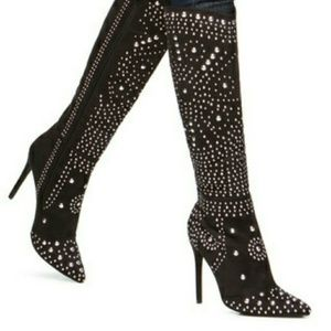 Black Studded faux suede high knee boots