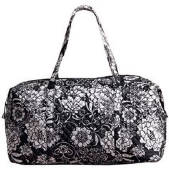 43% off Avon Handbags - Black and White Floral Quilted Duffle Bag ... : quilted duffle bags - Adamdwight.com