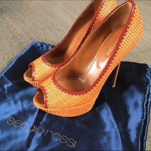 Sergio Rossi Shoes - Sergio Rossi Orange Woven Pump Sz 8