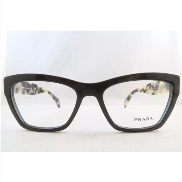 7907ac6e349 PRADA EYEGLASSES VPR 14Q DHO 1O1 Brown  Clear Lens
