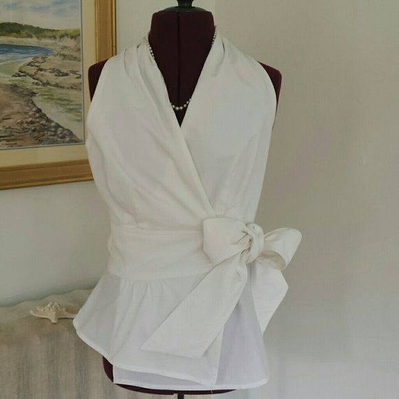 2f131f7d0bdf0 Finley Tops - Finley white cotton wrap blouse with peplum