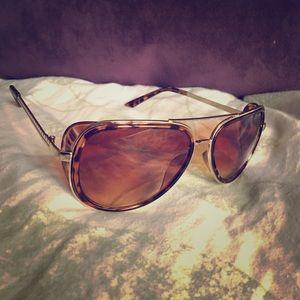 Retro Gold Animal Leopard Print Aviator Sunglasses