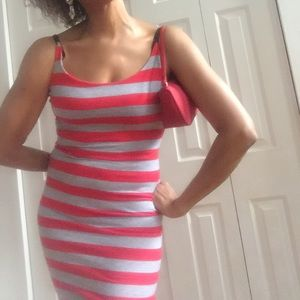 DARLING Dresses & Skirts - 🆕 DARLING RED/GRAY STRIPED STRAP DRESS