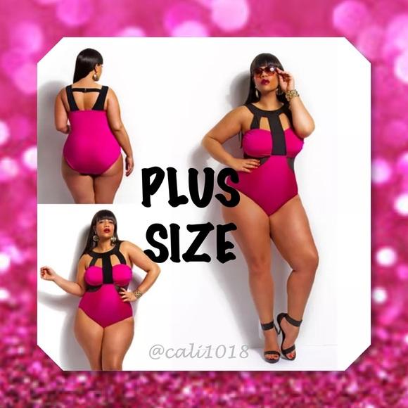 ab92562cd17 Glam Squad 2 You Swim | 1hr Saleplus Size Fuschia Caged One Pc ...