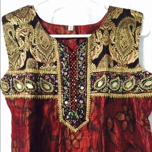 indian maroon/black anarkali dress