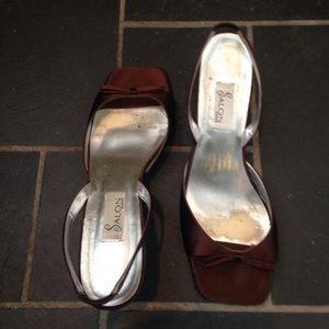 Shoes - Brown satin Kitten sling back heels
