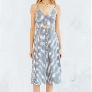 UO Oh My Love Button-Front Cutout Midi Dress