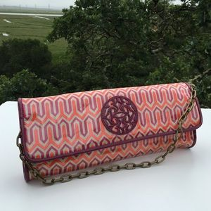 Steve Madden Orange Purple Geometric Print Clutch