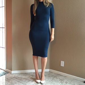 Dresses & Skirts - LAST SMALL 3/4 Sleeves Indigo High Neck Midi Dress
