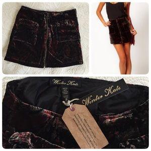 Winter Kate Dresses & Skirts - {Winter Kate} printed velvet mini skirt😍