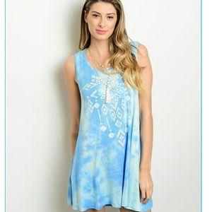 Dresses & Skirts - Last one! Light blue boho tye dye dress