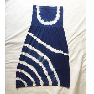 Dresses & Skirts - Boutique Blue & White Tye Dye Strapless Dress