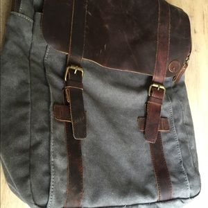 Handbags - Genuine leather and canvas backpack