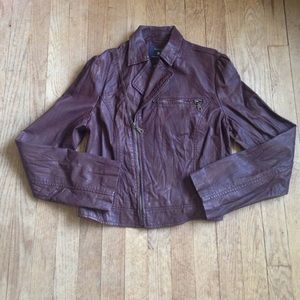 Brown side zip faux leather jacket forever 21 S