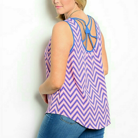 MINE TOO Tops - |SALE| PLUS Chevron Open Back Tank