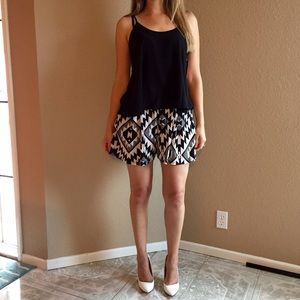 Pants - High Waisted Aztec Shorts