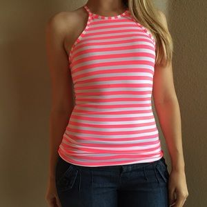 Tops - Neon Pink & White Striped High Neck Top