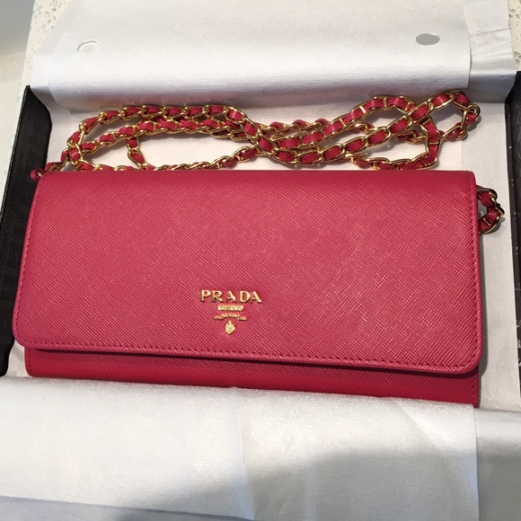 ... spain prada saffiano wallet chain crossbody bag w box d2a21 e7b4b 7234a8befbab9
